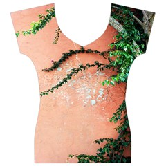 Background Stone Wall Pink Tree Women s V-Neck Cap Sleeve Top
