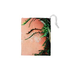 Background Stone Wall Pink Tree Drawstring Pouches (XS)