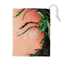 Background Stone Wall Pink Tree Drawstring Pouches (Extra Large)