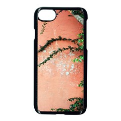 Background Stone Wall Pink Tree Apple iPhone 7 Seamless Case (Black)
