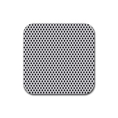 Diamond Black White Shape Abstract Rubber Square Coaster (4 pack)