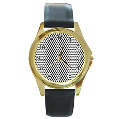 Diamond Black White Shape Abstract Round Gold Metal Watch
