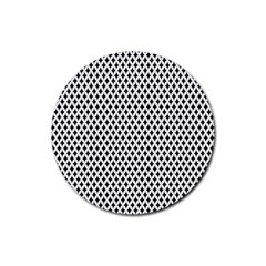 Diamond Black White Shape Abstract Rubber Round Coaster (4 pack)