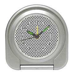 Diamond Black White Shape Abstract Travel Alarm Clocks