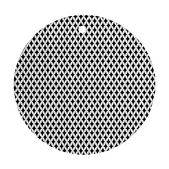 Diamond Black White Shape Abstract Round Ornament (Two Sides)