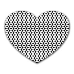 Diamond Black White Shape Abstract Heart Mousepads