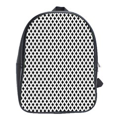Diamond Black White Shape Abstract School Bags(Large)