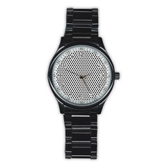 Diamond Black White Shape Abstract Stainless Steel Round Watch