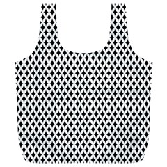 Diamond Black White Shape Abstract Full Print Recycle Bags (L)