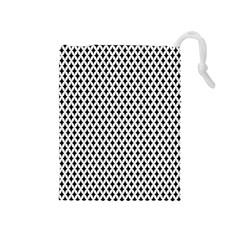 Diamond Black White Shape Abstract Drawstring Pouches (Medium)