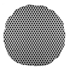 Diamond Black White Shape Abstract Large 18  Premium Flano Round Cushions