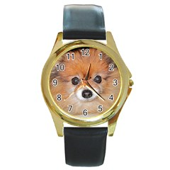 Pomeranian Round Gold Metal Watch