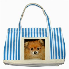 Pomeranian Striped Blue Tote Bag