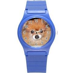 Pomeranian Round Plastic Sport Watch (S)
