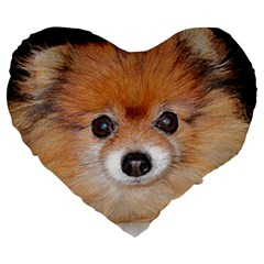 Pomeranian Large 19  Premium Heart Shape Cushions