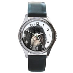 Tibet Terrier  Round Metal Watch