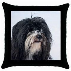 Tibet Terrier  Throw Pillow Case (Black)