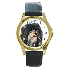 Tibet Terrier  Round Gold Metal Watch