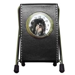 Tibet Terrier  Pen Holder Desk Clocks