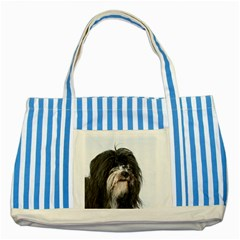 Tibet Terrier  Striped Blue Tote Bag