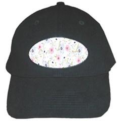 Floral Pattern Background Black Cap