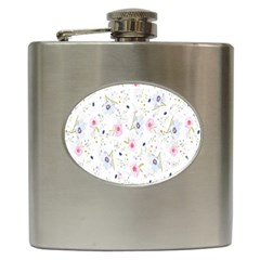 Floral Pattern Background Hip Flask (6 oz)