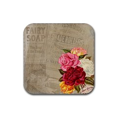 Flower Floral Bouquet Background Rubber Square Coaster (4 pack)