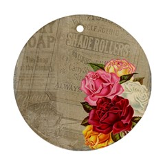 Flower Floral Bouquet Background Round Ornament (Two Sides)