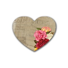 Flower Floral Bouquet Background Rubber Coaster (Heart)