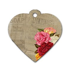 Flower Floral Bouquet Background Dog Tag Heart (Two Sides)