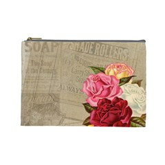 Flower Floral Bouquet Background Cosmetic Bag (Large)