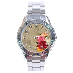 Flower Floral Bouquet Background Stainless Steel Analogue Watch