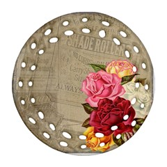 Flower Floral Bouquet Background Round Filigree Ornament (2Side)