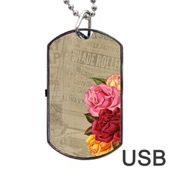 Flower Floral Bouquet Background Dog Tag USB Flash (One Side)