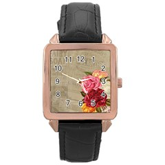 Flower Floral Bouquet Background Rose Gold Leather Watch