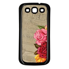 Flower Floral Bouquet Background Samsung Galaxy S3 Back Case (Black)