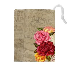 Flower Floral Bouquet Background Drawstring Pouches (Extra Large)