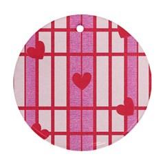 Fabric Magenta Texture Textile Love Hearth Ornament (Round)