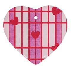 Fabric Magenta Texture Textile Love Hearth Ornament (Heart)