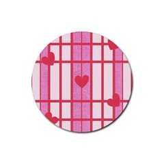 Fabric Magenta Texture Textile Love Hearth Rubber Round Coaster (4 pack)