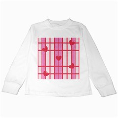 Fabric Magenta Texture Textile Love Hearth Kids Long Sleeve T-Shirts