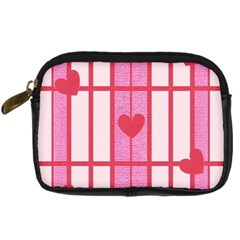 Fabric Magenta Texture Textile Love Hearth Digital Camera Cases