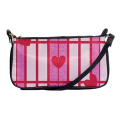 Fabric Magenta Texture Textile Love Hearth Shoulder Clutch Bags