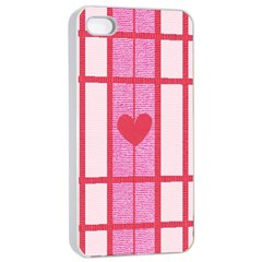 Fabric Magenta Texture Textile Love Hearth Apple iPhone 4/4s Seamless Case (White)