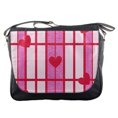 Fabric Magenta Texture Textile Love Hearth Messenger Bags