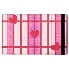 Fabric Magenta Texture Textile Love Hearth Apple iPad 3/4 Flip Case