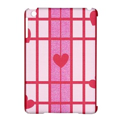Fabric Magenta Texture Textile Love Hearth Apple iPad Mini Hardshell Case (Compatible with Smart Cover)
