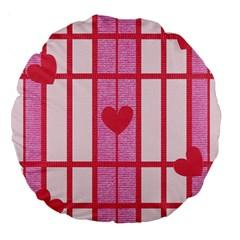 Fabric Magenta Texture Textile Love Hearth Large 18  Premium Round Cushions
