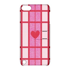 Fabric Magenta Texture Textile Love Hearth Apple iPod Touch 5 Hardshell Case with Stand