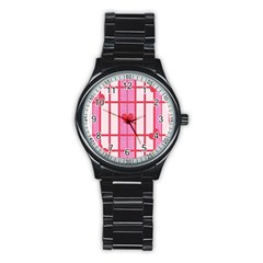 Fabric Magenta Texture Textile Love Hearth Stainless Steel Round Watch